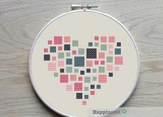 3 geometric modern cross stitch heart patterns hearts set of