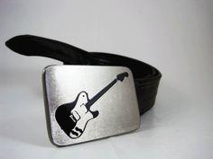 Electric Guitar Belt Buckle  Stainless Steel  by RhythmicMetal, $40.00