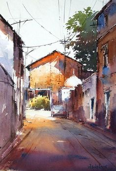 I love the light in this artists paintings Watercolor City, Watercolor Landscape Paintings, Watercolor Sketch, Watercolor Artists, Watercolor Illustration, Watercolour Painting, Watercolors, Urban Landscape, Landscape Art