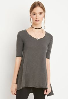 Raw-Cut Longline Trapeze Tee | Forever 21 Canada