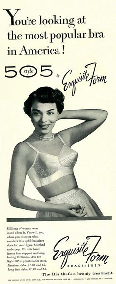 """1953 Exquisite Form advertisement for """"the most popular bra in America,"""" via flickr."""