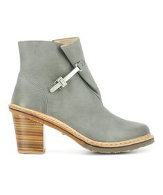 Gray Wood-Heel Leather Fold-Over Bootie - Women #zulily #zulilyfinds