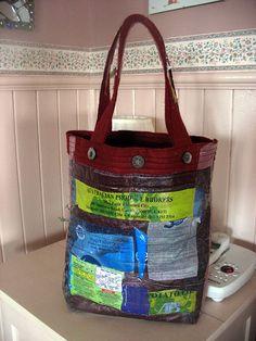 fused plastic bags,perfekt som innmat i strikkede/ heklede ptosjekter