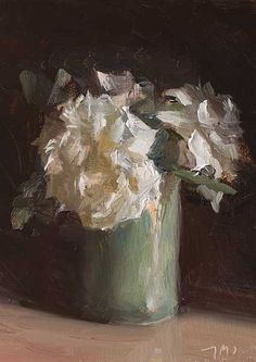 Julian Merrow-Smith, Roses in a green vase