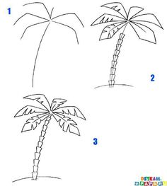 How to draw a palm tree step-by-step (art lesson, kids)