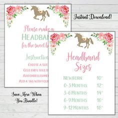 Headband Station Signs 2 total which include measurements for ribbon. + FREE SURPRISE BONUS GAME ***What is Included*** This listing is for an INSTANT DOWNLOAD of 8 x 10 PDF files for each sign which can be trimmed and framed for display. ***How instant downloads work:*** 1.