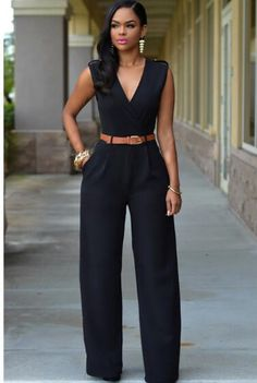 b7dd0a957d9a Classic Deep V Jumpsuit With Belt S-XXL (Different Colors Available)