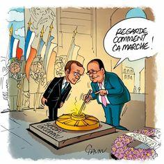 CHAUNU @ChaunuShow (2017-05-09) France:   François Hollande, Emmanuel Macron , # En Marche,  # Presidentielle 2017 #8mai  - Commemoration du 8 mai ÷÷÷ Dessin du jour dans @UnionArdennais