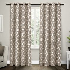 Britain Geometric Blackout Thermal Grommet Curtain Panels
