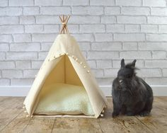 Rabbit teepee Guinea Pig bed Kitten tent with pillow - solid ivory - pompom trim