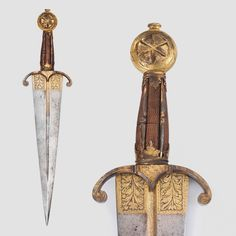 Dagger, Italian, first half of century in style. Swords And Daggers, Knives And Swords, Types Of Armor, Ancient Armor, Dagger Knife, Medieval Weapons, Arm Armor, Cold Steel, Fantasy Weapons