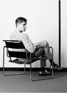 ibkodfashion:Peter Bruder by Sabrina Thiessen, Qvest Wassily Chair, Chair Photography, Chair Pose, Buy Sofa, Marcel Breuer, Fashion Tape, Charles Eames, Creative Portraits, Take A Seat
