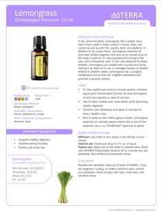 Lemongrass product info. Find your CPTG essential oils and more at www.mydoterra.com/dianesulzer