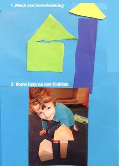 Maak een bouwtekening en maak hem na met blokken 3, thema 'wij bouwen een huis', kleuteridee