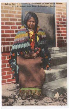 Ochlocknee Native American Indian Woman Rose Parade Ochlocknee Georgia linen postcard