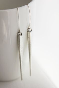 Extra Long Spike French Hook Earrings in antique by onceuponaCHO, $32.00