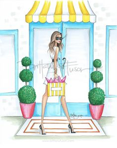 flower shop | shopping | little white dress | fashion illustration | Brittany Fuson