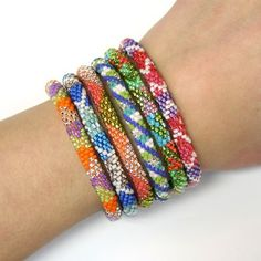 "Rainbow ""6-Stack"" Bright Mix of Lily & Laura Bracelets - Fair Trade from Nepal. Get a big discount when you select from our pre-picked sets of 6! Click for details about free shipping!"