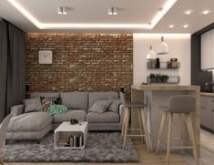 Getting Bored With Your Home? Use These Interior Planning Ideas – Lastest Home Design Small Apartment Interior, Small Apartment Design, Studio Apartment Decorating, Apartment Layout, Small Apartments, Home Interior Design, Open Plan Kitchen Living Room, Home Living Room, Living Room Designs
