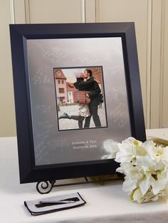 Contemporary Signature Frame Wedding Guestbook by IDoEngravables