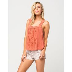 Full Tilt Printed Linen Womens Shorts ($4.99) ❤ liked on Polyvore featuring shorts, tan, elastic shorts, striped shorts, stripe shorts, full tilt and pocket shorts