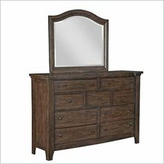 Broyhill Attic Retreat 9 Drawer Dresser and Mirror Set in Weathered-Mink - The Attic Retreat Drawer Dresser has rustic styling, a weathered-mink finish on oak solids and veneers, blackened-bronze hardware, and cedar-lined bottom drawers.