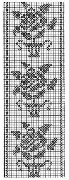 Cross Stitch Geometric, Cross Stitch Borders, Cross Stitch Patterns, Crochet Table Runner Pattern, Crochet Tablecloth, Beading Patterns Free, Crochet Patterns, Crochet Stitches, Embroidery Stitches