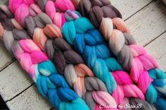 Hand dyed Targhee wool top Good for spinning, felting, blending, & petting…