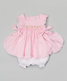 Pink Gingham Smocked Top & Bloomers - Infant #zulily #zulilyfinds