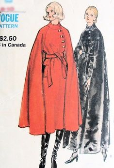 ELEGANT Flared Cape Coat Pattern VOGUE 8145 Beautiful Style, Day or Evening Lengths Bust Vintage Sewing Pattern-Authentic vintage sewing patterns: This is a fabulous original dress making pattern, not a copy. Because the sewing patterns a Coat Pattern Sewing, Cape Pattern, Coat Patterns, Jacket Pattern, Vintage Sewing Patterns, Pattern Drafting, Skirt Patterns, Blouse Patterns, Clothes Patterns
