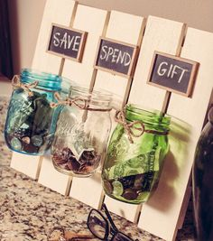 Mason Jar Crafts: Favorite Upcycles Mason jars are one of my favorite things. I'm usually a pretty frugal gal, but put me in an antique store with vintage jars, and I go a bit gaga. There are just so many things you can do with them! Mason Jar Projects, Mason Jar Crafts, Diys With Mason Jars, Diy Crafts With Mason Jars, Mason Jar Shelf, Craft Projects, Projects To Try, Pallet Projects, Sewing Projects