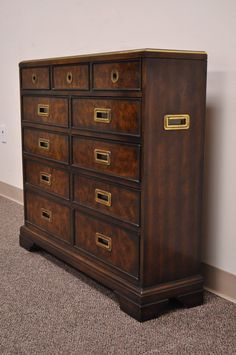 Superieur Leather Top Campaign Style Entry Chest With Brass Pulls By Drexel Heritage