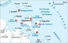 Cartina arcipelago di La Maddalena
