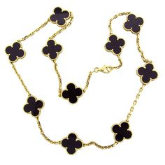 Van Cleef & Arpels Alhambra Onyx Gold Necklace