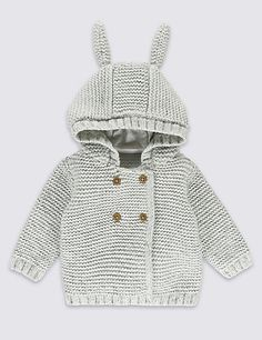 Chunky Knitted Cardigan with Ears | M&S