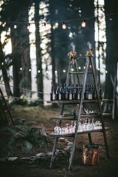 This amazing roundup of wooden ladder wedding decor ideas will get your creative juices flowing. Be it as hanging centerpieces, food displays, backdrops or Forest Wedding, Woodland Wedding, Rustic Wedding, Wedding Reception, Our Wedding, Wedding Venues, Dream Wedding, Drinks Wedding, Viking Wedding