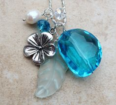 Tiaria Aqua Bead Necklace Hibiscus Seaglass Leaf in by InaraJewels, $38.95