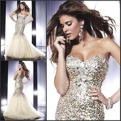 free shipping 2014 new sexy handmade diamond Sequin Beading crystal custom size/color Prom gown mermaid party night sweetheart Evening Dress...