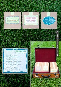 custom cd mix escort cards | VIA #WEDDINGPINS.NET