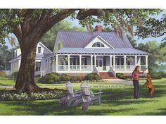 Home Plans HOMEPW26799 - 2,553 Square Feet, 4 Bedroom 3 Bathroom Cottage Home with 2 Garage Bays