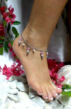 Pink Tiger/'s Eye Flower Anklet Ankle Bracelet Bohemian Boho Beaded Gemstone Foot Jewelry BFF Gift For Girlfriend Floral Flower Charms Anklet
