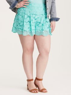 """<div>Keep up the pace; while cutoffs are great, dressed-up shorts are the next big thing. Eye-popping turquoise floral lace gets moving and grooving thanks to a wider scalloped leg opening, a smocked back, and a tummy smoothing waistband.</div><div><ul><li style=""""list-style-position: inside !important; list-style-type: disc !important"""">3 1/2"""" inseam</li><li style=""""list-style-position: inside !important; list-s..."""