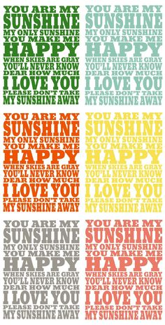 Free Printable ~ You Are My Sunshine Print... 8x10 or 16x20