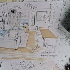 "Sketch by Magdalena Sobula ""interiorsketch #interiordesign #magdalenasobula #interiordesigner #handsketch #handrender #colorsketch"