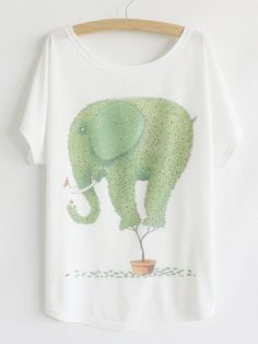 Casual Scoop Neck Cartoon Green Elephant Print Color Block Women's T-Shirt