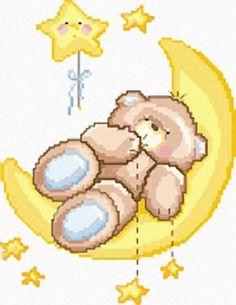 Punto croce orso luna stelle azzurro