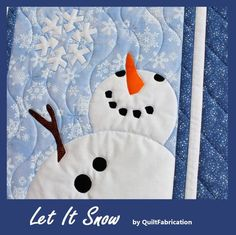 Share the joy of catching snowflakes with Mr Snowman in the Let It Snow wall hanging! Created as a row for the Christmas Carol Row Along 2017, the center finishes 12 x 30. With the addition of the border, Let It Snow makes an adorable wall hanging to celebrate the winter season! Quilting Tutorials, Quilting Designs, Snowman Quilt, Tumble N Dry, Snow Holidays, Hanging Bird Feeders, Holiday Images, Winter Quilts, Quilt Labels