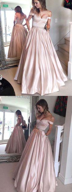 2017 prom dress, long prom dress, off the shoulder prom dress, pink long prom dress, prom dress with pocket, formal evening dress