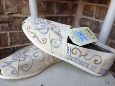 Just Married Wedding Reception Honeymoon TOMS by brushandbow, $80.00