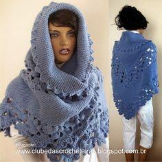 Vera i Manualidades - Veraxangai: dziewiarskie i szydełka szale IN Crochet Collar, Knit Or Crochet, Crochet Shawl, Crochet Squares, Knitted Shawls, Beautiful Crochet, Shawls And Wraps, Hand Knitting, Crochet Patterns